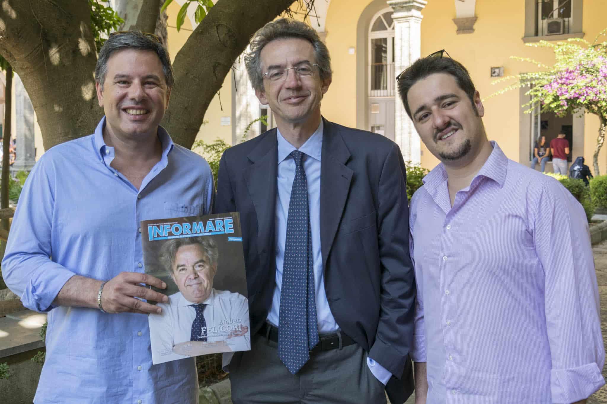 Angelo Morlando, il rettore Gaetano Manfredi e Savio De Marco (Foto di Gabriele Arenare)