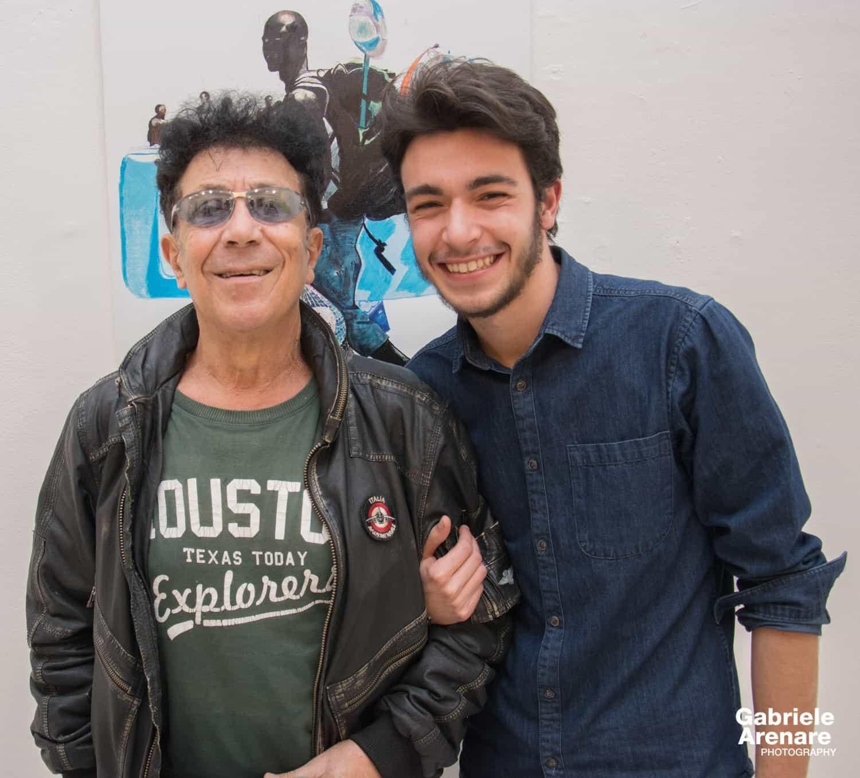 """Edoardo Bennato e Fulvio Mele in occasione della mostra """"In cammino"""" al Palazzo Arti di Napoli - Photo credit Gabriele Arenare"""