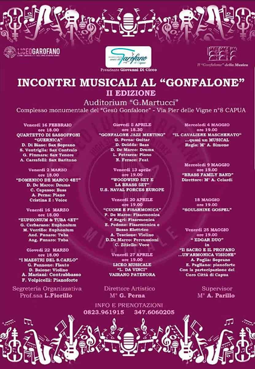 CARTELLONE II RASSEGNA INCONTRI MUSICALI AL LICEO GONFALONE