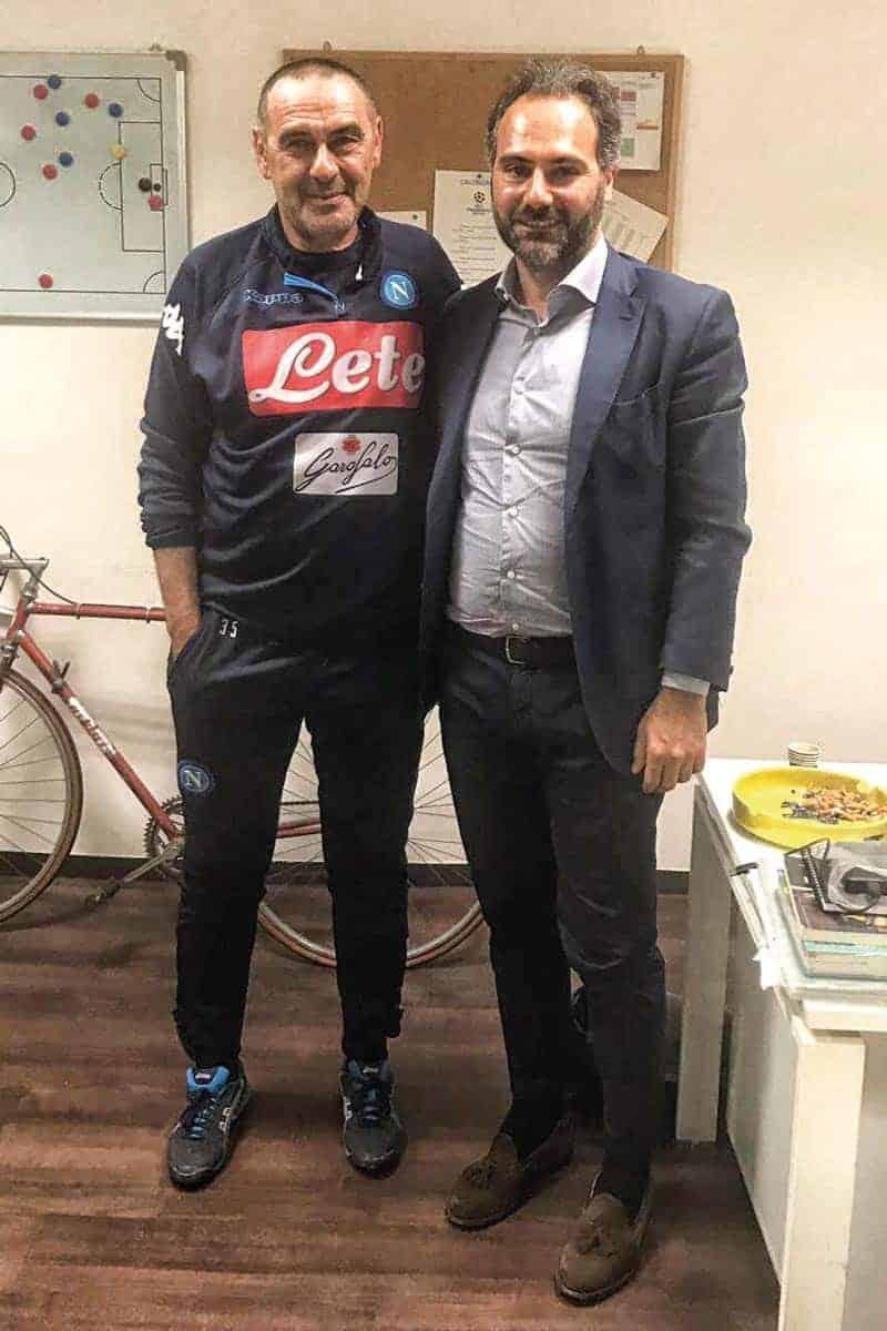 L'ex tecnico azzurro Maurizio Sarri e il magistrato Catello Maresca