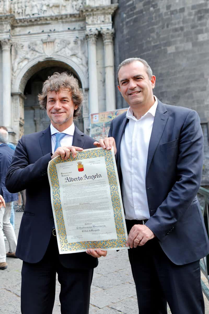 Alberto Angela e Luigi de Magistris - Cittadinanza onoraria di Napoli - Photo credit Carmine Colurcio